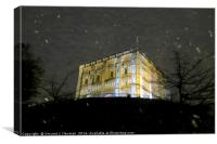 Snowy Night At Norwich Castle Museum, England, Canvas Print