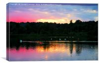 Whitlingham Lake At Sunset, Canvas Print