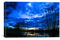 Sunset at Whitlingham Lake Area, Norwich, U.K, Canvas Print