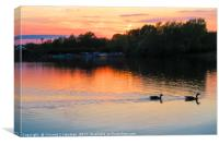 Sunset at Whitlingham Lake, Norwich, U.K , Canvas Print