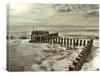 Caister Beach Sea Defences, Canvas Print