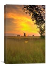 Martham Mill Sunset, Canvas Print