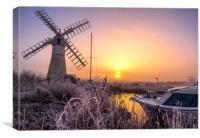 Frosty sunrise at Thurne Mill, Canvas Print