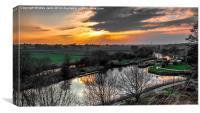 Weaver Navigation Saltersford Locks, Barnton north, Canvas Print
