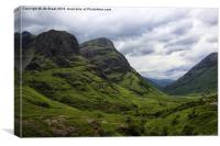 The Pass of Glen Coe in Colour , Canvas Print