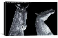 The Kelpies at Night in Mono, Canvas Print