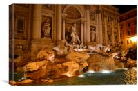 Trevi fountain by night, Canvas Print