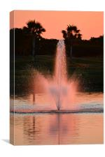 Sunset Pink Fountain, Canvas Print