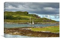 Yacht in Cuan Sound, Canvas Print