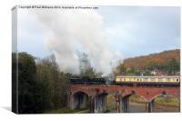 Steam Locos on Coalbrookdale Viaduct, Canvas Print