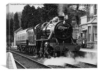 Stanier mogul arriving at Hampton Loade 2 b/w, Canvas Print