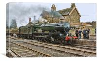 "GWR ""Nunney Castle"" at Highley, Canvas Print"