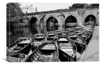 Rowing boats on Durham river, Canvas Print