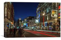 Shaftesbury Avenue, London at Night, Canvas Print