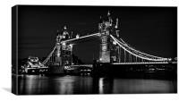 Tower Bridge Evening in B&W, Canvas Print
