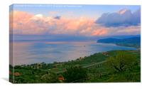 The North Coast of Sicily at Sunset, Canvas Print