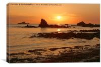 Sunset at Cobo Bay, Canvas Print
