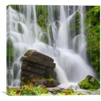 Artificial Waterfall in the mountain park Wilhelms, Canvas Print