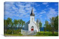 White Norwegian Village Church, Canvas Print