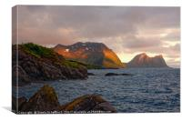 The Mountains of Senja in the Midnight Sun, Canvas Print