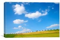Summer landscape with blue sky, Canvas Print