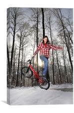 BMX Flatland rider in winter, Canvas Print