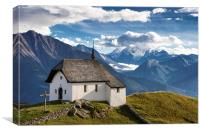 Chapel Swiss Mountains Switzerland, Canvas Print
