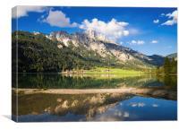 Mountain landscape Austria water reflection, Canvas Print