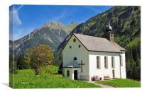 Mountain church Baad Kleinwalsertal Austria, Canvas Print