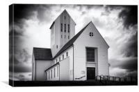 Skalholt church Iceland black and white, Canvas Print
