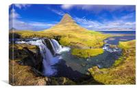 Amazing Kirkjufell waterfall Iceland, Canvas Print
