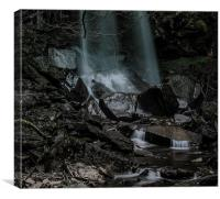 Dark waterfall., Canvas Print