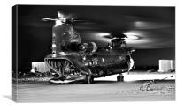 Ch47 Aircraft Chinook Helicopter Night Ops, Canvas Print