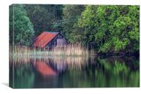 Old Boathouse on Loch, Canvas Print