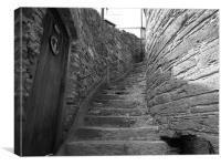 Black and White, Stairs, Devon, Canvas Print