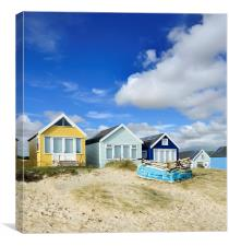 Beach huts on a summer afternoon , Canvas Print