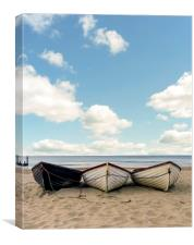 Fishing boats on a beach , Canvas Print