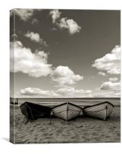 Fishing boats on a beach, Canvas Print