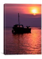 Fishing boat sunrise , Canvas Print
