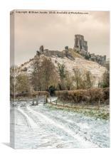 Corfe Castle winter pathway, Canvas Print