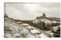 Corfe Castle winter Landscape , Canvas Print
