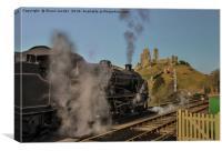 Corfe station steam train , Canvas Print