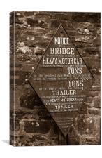 bridge weight plaque,mon & brec canal, Canvas Print