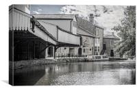 inn on the wharf,burnley almost black and white, Canvas Print
