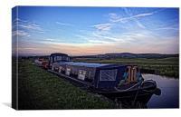 narrowboats at dusk, Canvas Print
