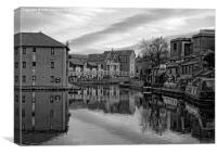 narrowboats moored in  lancaster canal basin black, Canvas Print