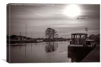dutch barge at trent lock in black and white, Canvas Print