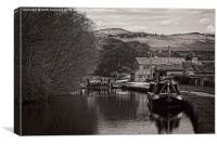 narrowboat at  gargrave lock black and white, Canvas Print