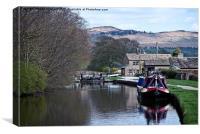 narrowboat at  gargrave lock colour, Canvas Print