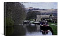 narrowboat at  gargrave lock, Canvas Print